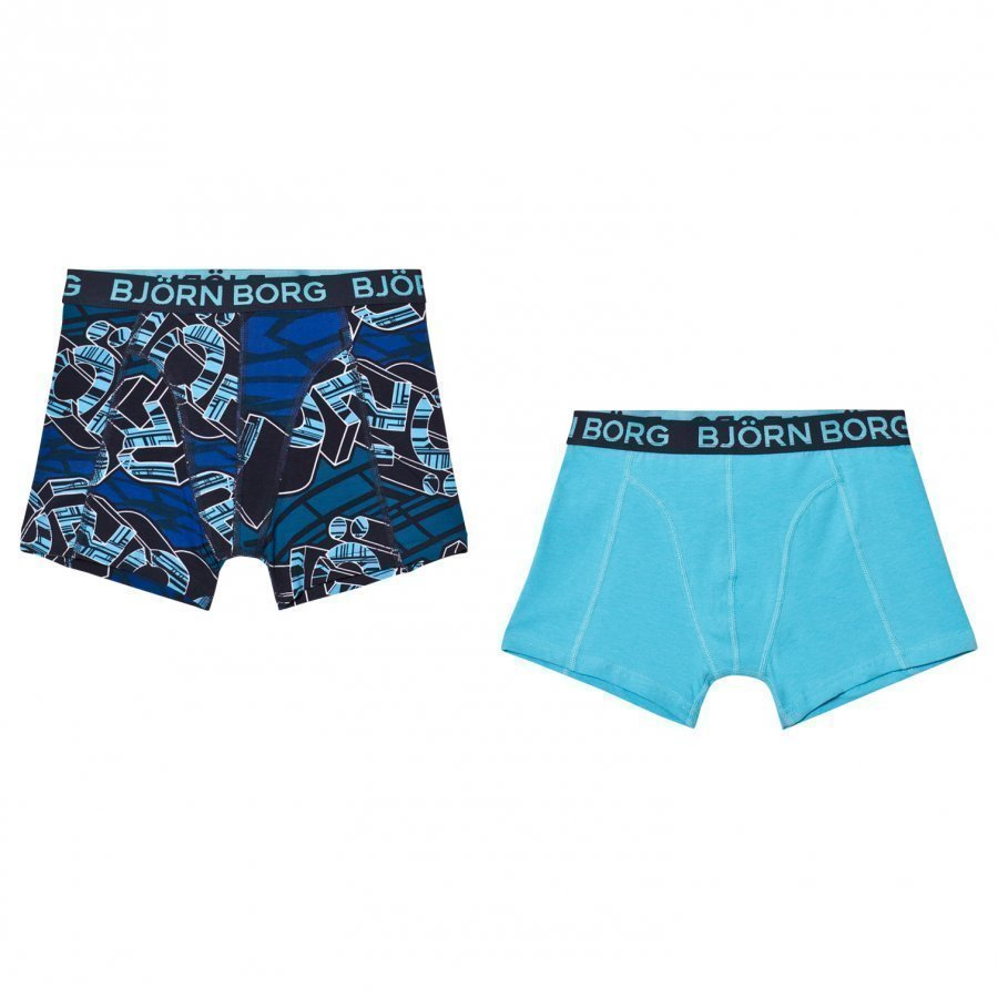 Bjorn Borg 2 Pack Of Blue Branded Print And Solid Trunks Bokserit