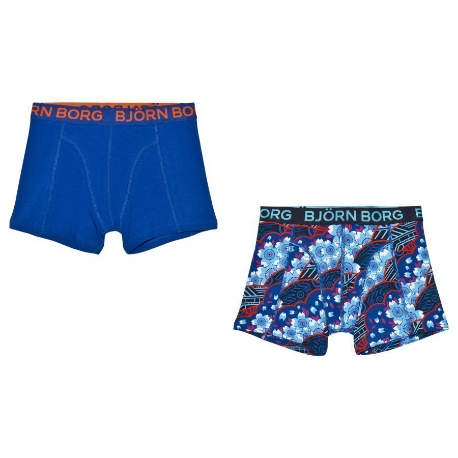 Bjorn Borg 2 Pack Of Navy Print And Solid Trunks Bokserit