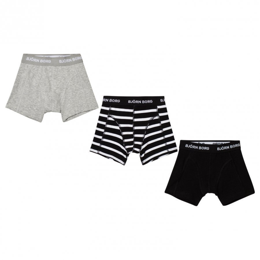 Bjorn Borg 3 Pack Of Black Grey And Stripe Trunks Bokserit