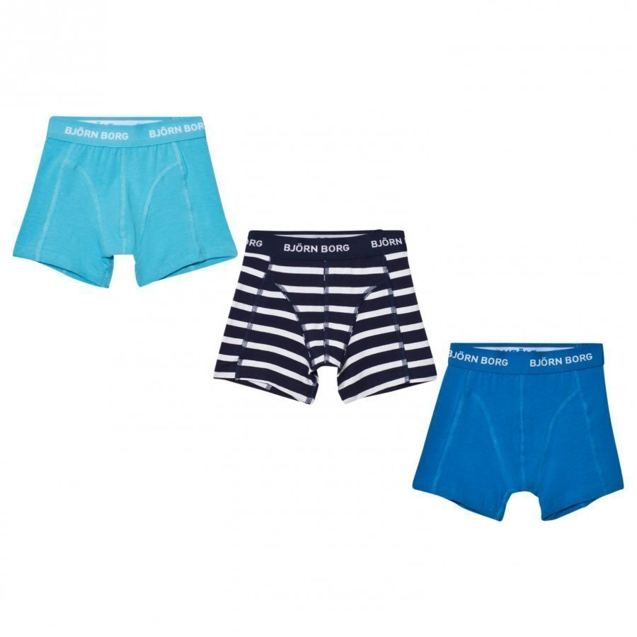 Bjorn Borg 3 Pack Of Blue And Stripe Trunks Bokserit