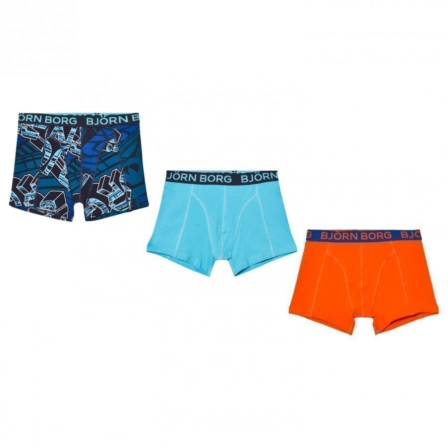 Bjorn Borg 3 Pack Of Orange Blue And Print Trunks Bokserit