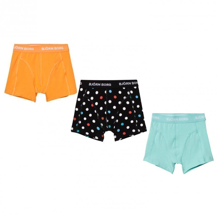 Bjorn Borg 3 Pack Of Yellow Blue And Spot Trunks Bokserit