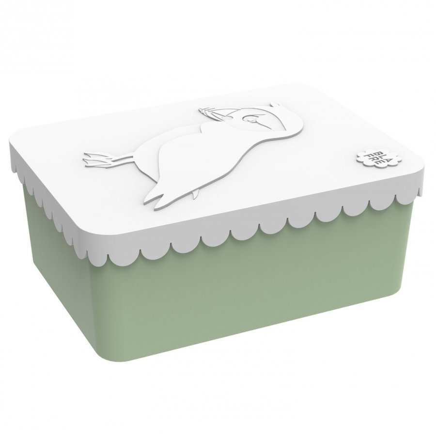 Blafre Lunch Box Puffin White/Green One Compartment Lounasrasia