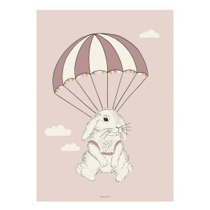 Bloomingville Airbone Bunny Poster Juliste Roosa 50x70 Cm