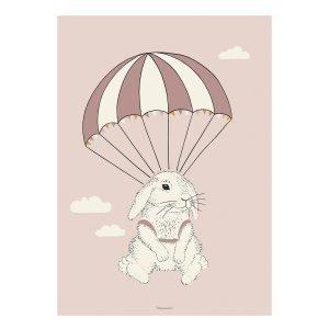 Bloomingville Airbone Bunny Poster Juliste Roosa 50x70 Cm
