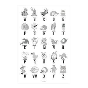 Bloomingville Animal Alphabet Juliste Harmaa 50x70 Cm