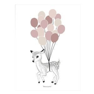 Bloomingville Dear Deer Juliste Roosa 30x40 Cm