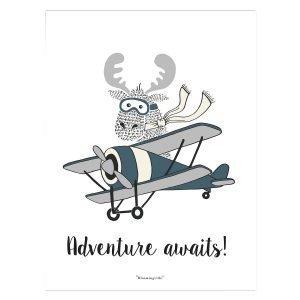 Bloomingville Moose In A Plane Juliste Harmaa 30x40 Cm