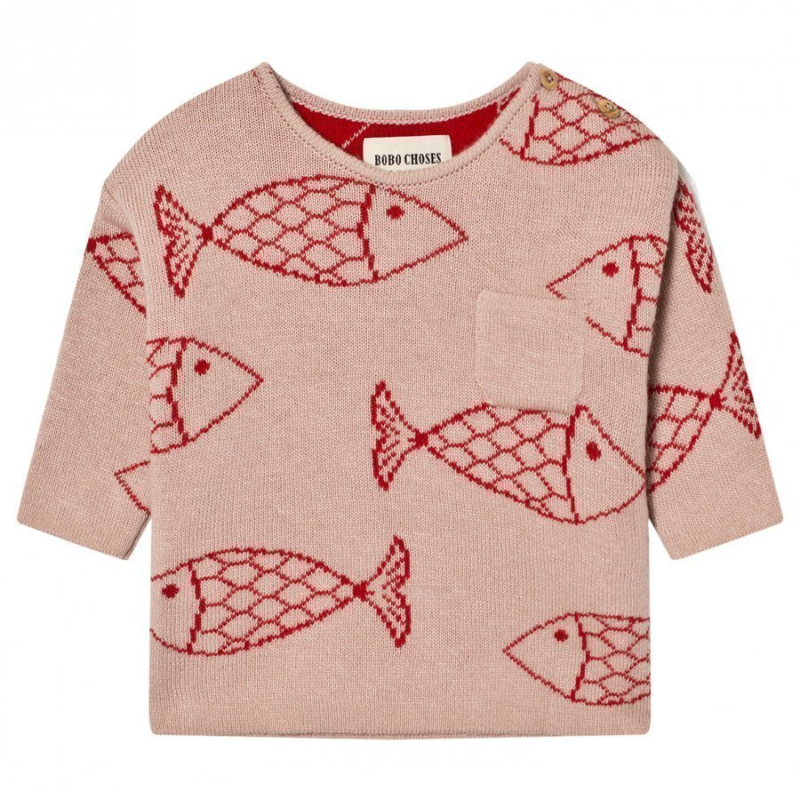 Bobo Choses Baby Knitted Jumper Shoaling Fish Paita