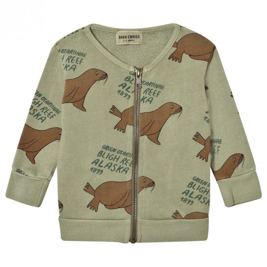 Bobo Choses Baby Zip Sweatshirt Green Otariinae Oloasun Paita