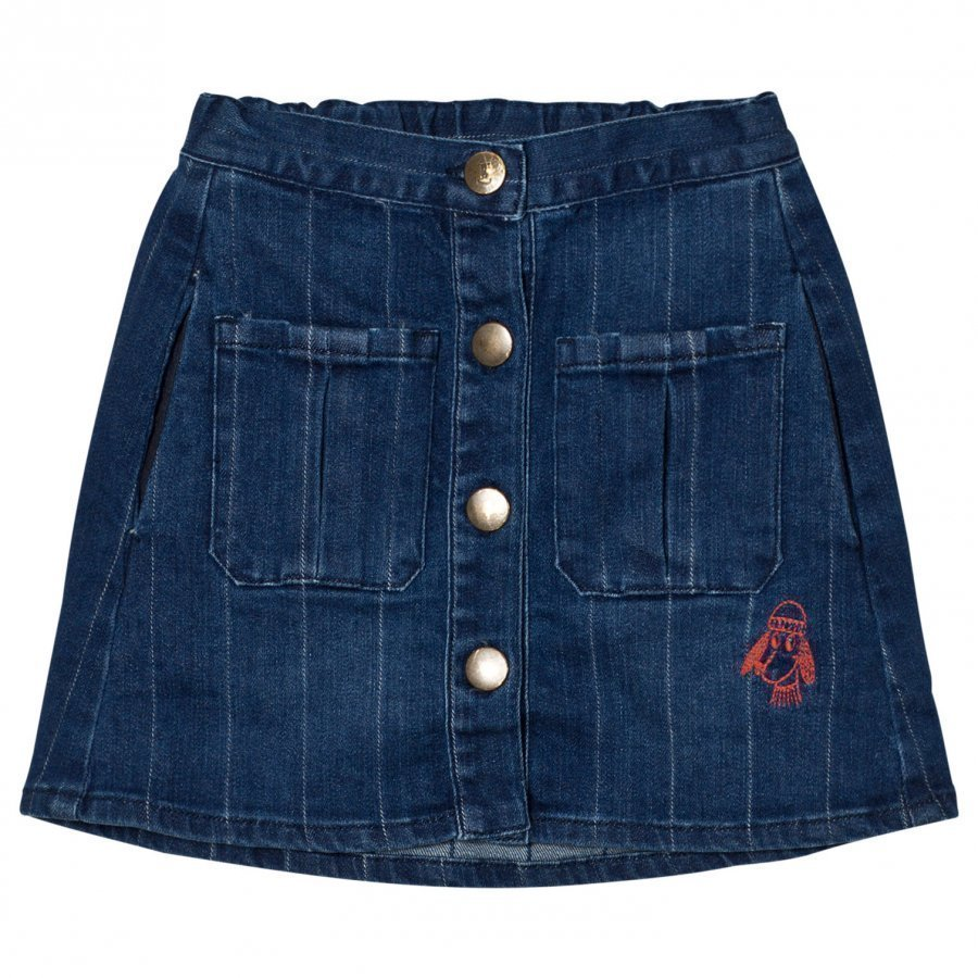 Bobo Choses Denim Buttons Skirt Loup Embroidery. Midihame