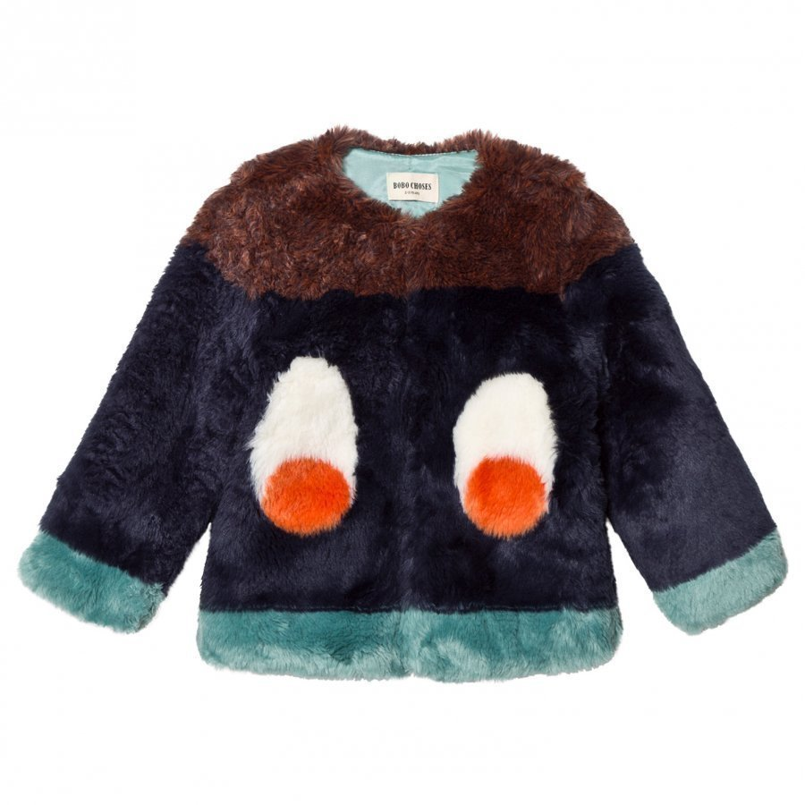 Bobo Choses Faux Fur Jacket Eyes Turkis