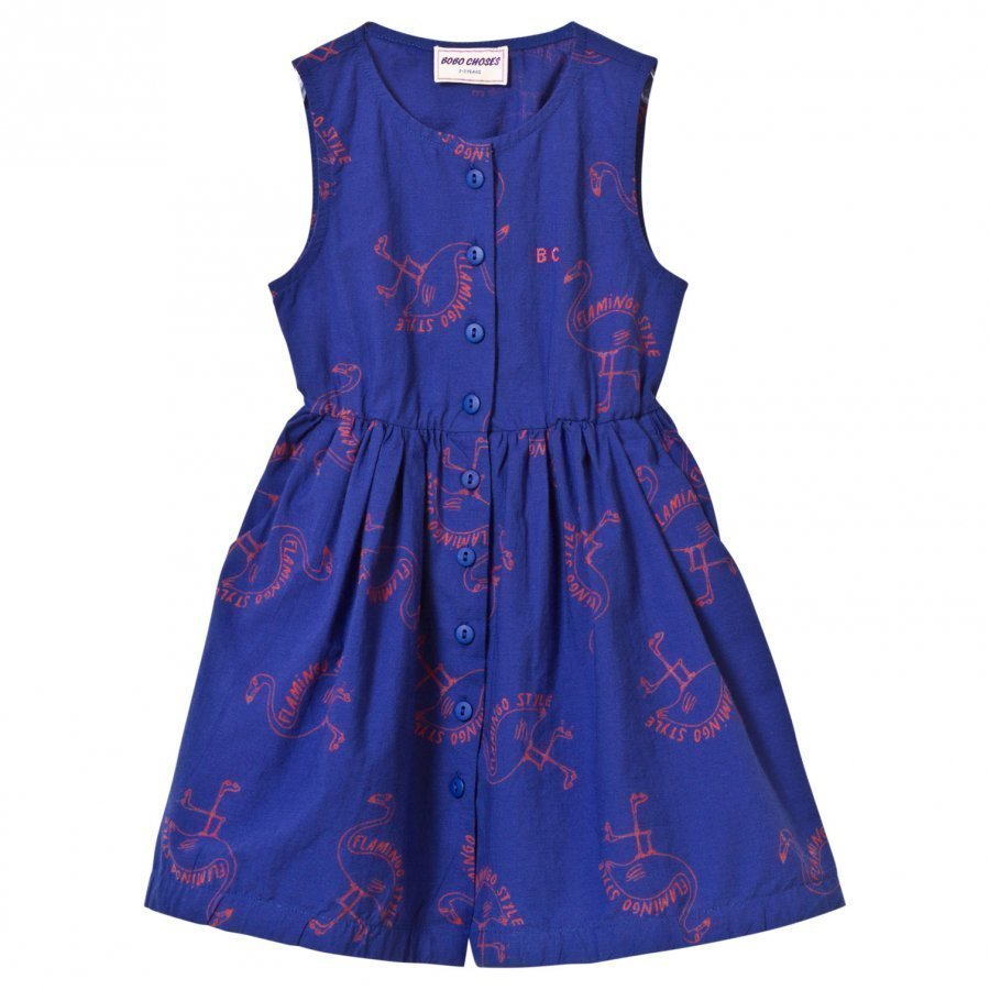 Bobo Choses Flamingos Shaped Dress Mazarine Blue Mekko