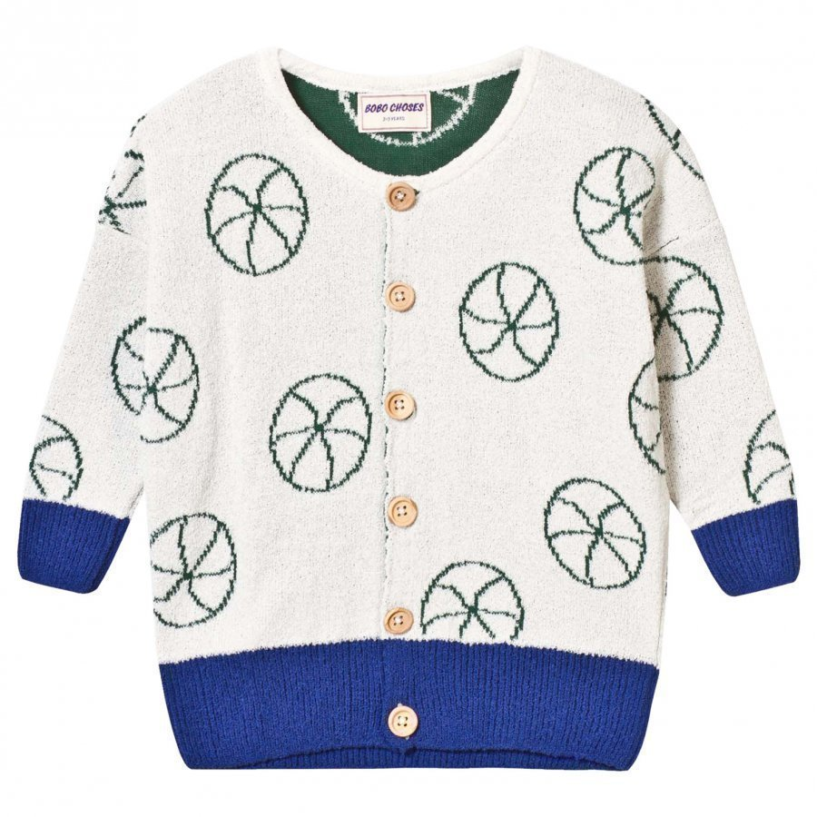 Bobo Choses Knit Cardigan Basket Ball Off White Neuletakki