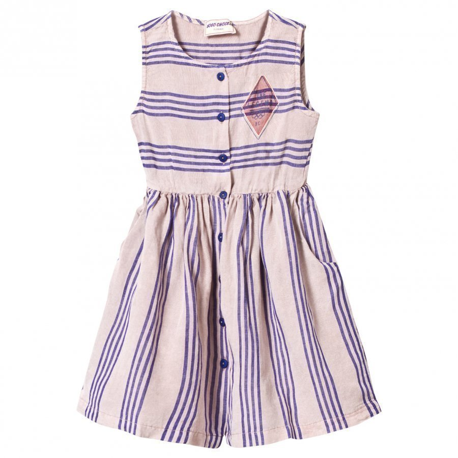Bobo Choses Legend Striped Shaped Dress Off Rose Mekko