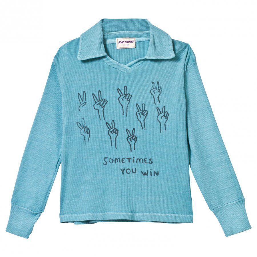 Bobo Choses Podium Football Polo Turquoise Blue Pikeepaita