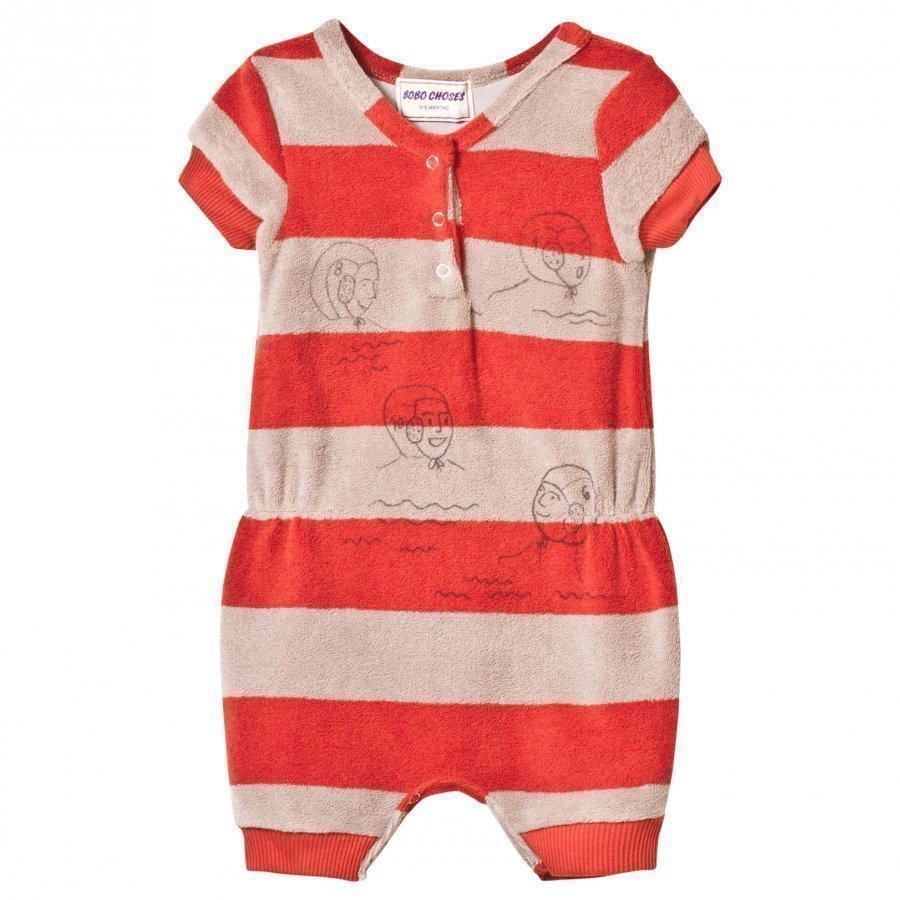 Bobo Choses Striped Terry Jumpsuit Waterpolo Red Clay Romper Puku