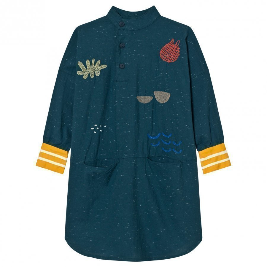 Bobo Choses Tunic Dress Sea Junk Embroidery Mekko