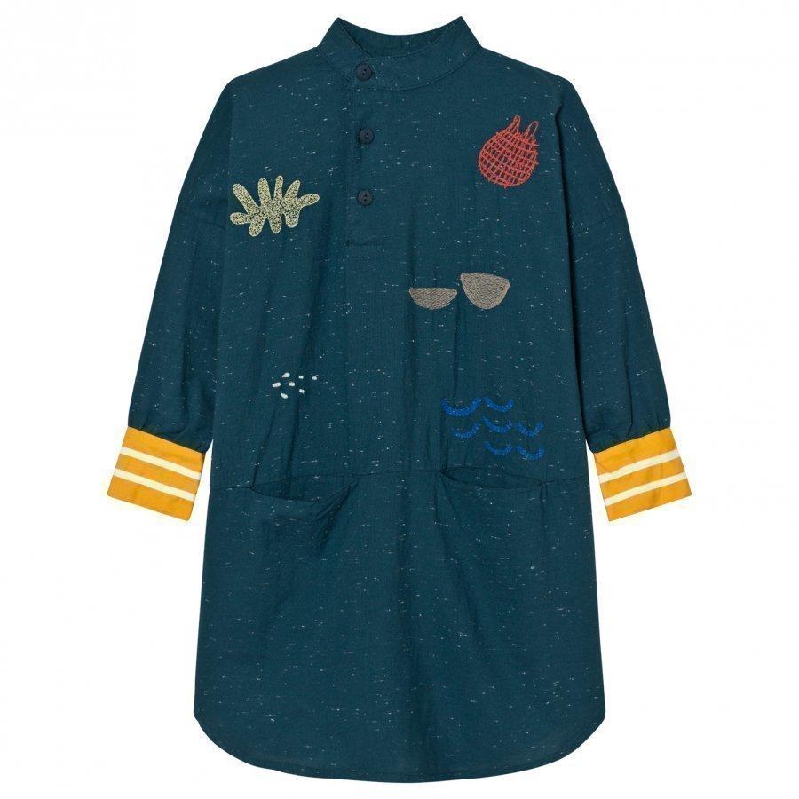 Bobo Choses Tunic Dress Sea Junk Embroidery Mekko