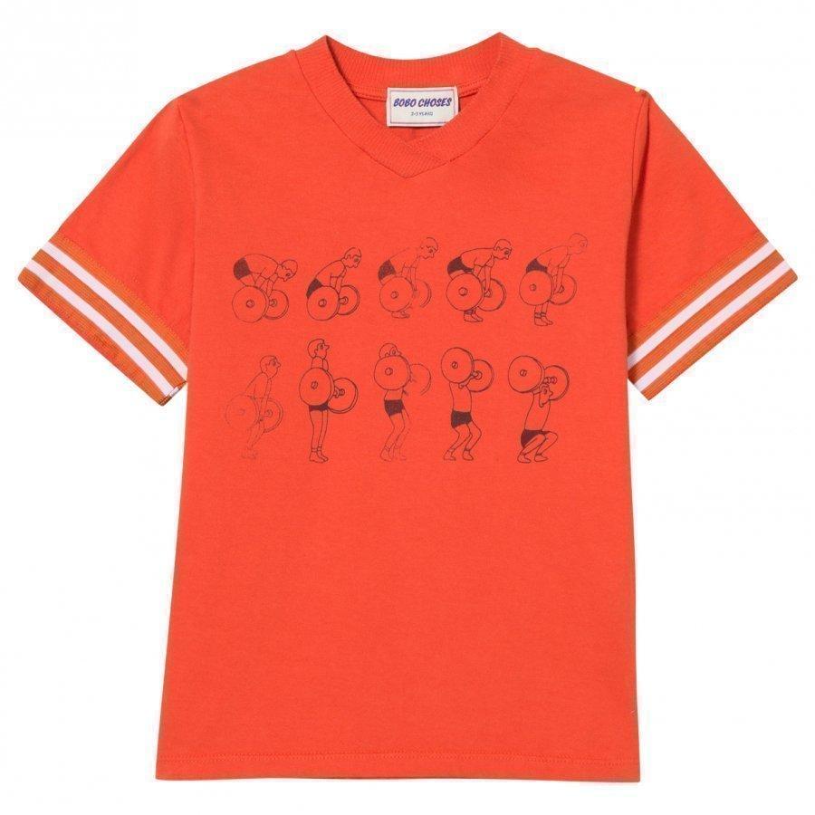 Bobo Choses Weightlifting V-Neck T-Shirt Red Clay T-Paita