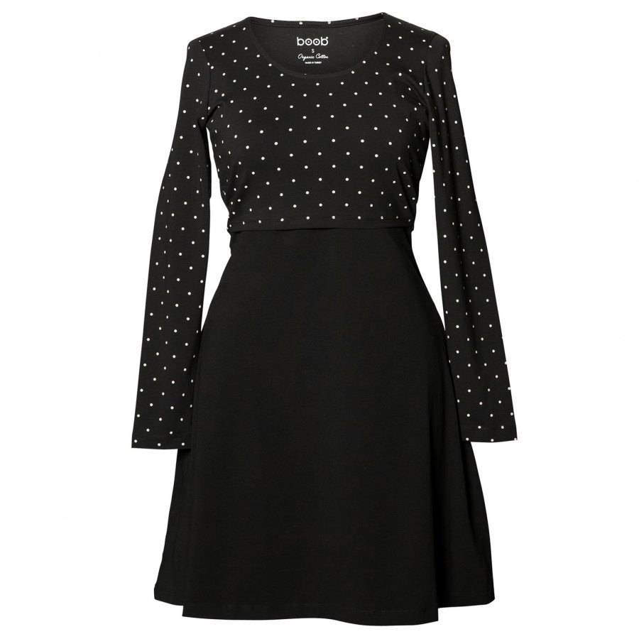 Boob Dottie Dress Black/Off White Dot Imetysmekko