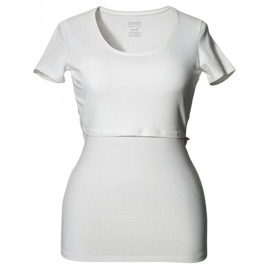 Boob N Top Short Sleeve White T-Paita Äidille