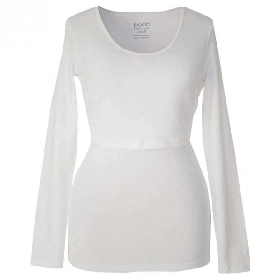 Boob Nursing Top Long Sleeve White T-Paita Äidille