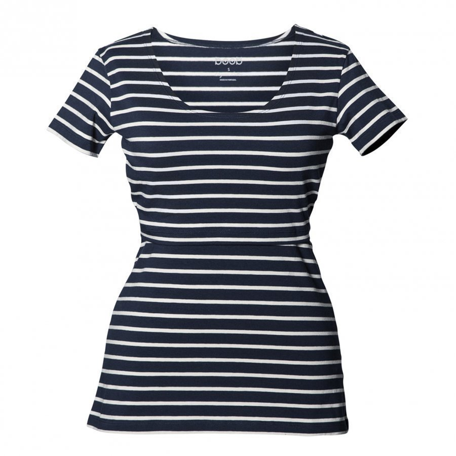 Boob Simone Top Short Sleeve Blue/Off White T-Paita Äidille
