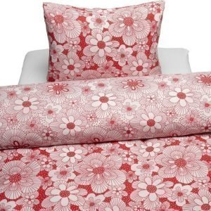 Borganäs Flowery Pussilakanasetti 150 x 210 cm Punainen