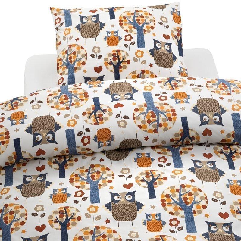 Borganäs Happy Owl Pussilakanasetti 150 x 210 cm Sininen/beige