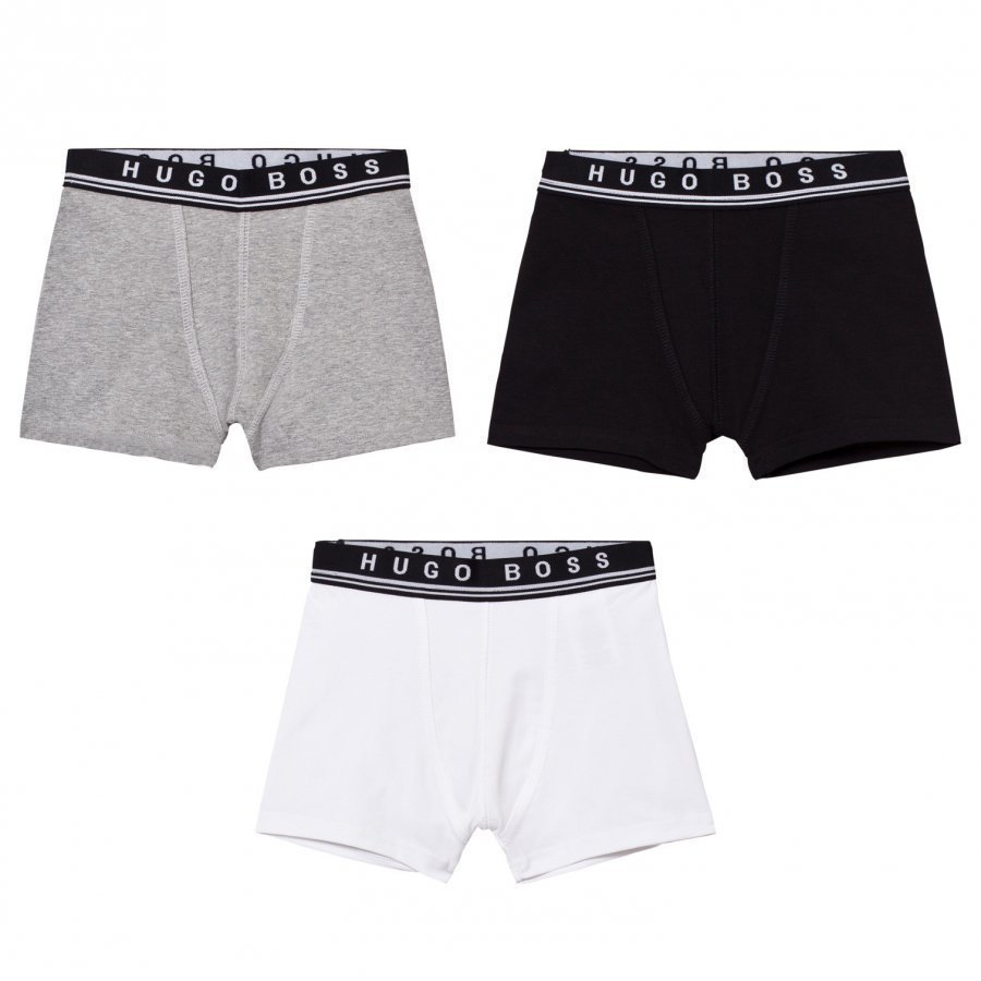 Boss 3 Pack Of Black/White/Grey Branded Boxers Bokserit