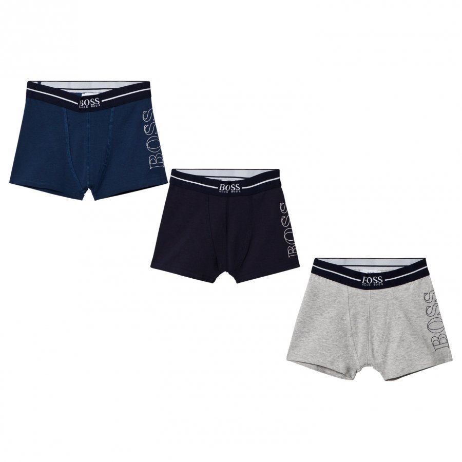 Boss 3 Pack Of Blue Navy And Grey Branded Boxers Bokserit