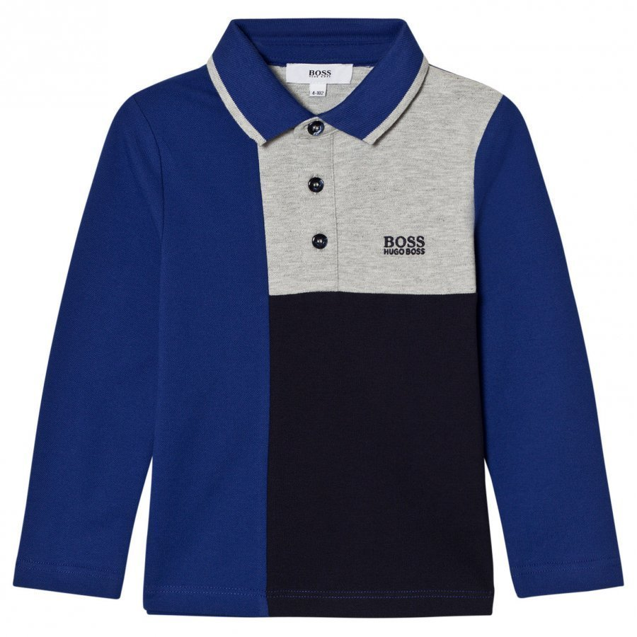 Boss Blue And Grey Paneled Polo Pitkähihainen T-Paita