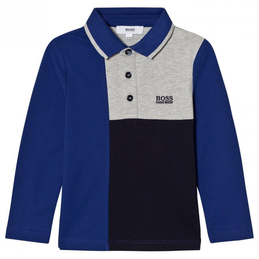 Boss Blue And Grey Paneled Polo Pitkähihainen T-Paita
