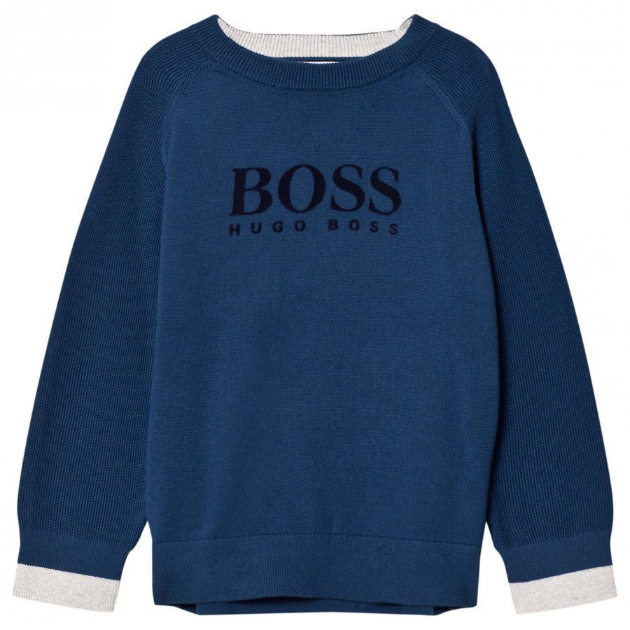 Boss Blue Cotton Knit Branded Sweatshirt Oloasun Paita