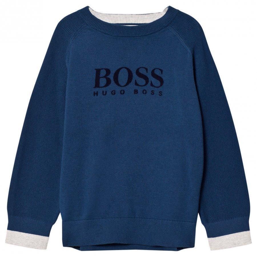 Boss Blue Cotton Knit Branded Sweatshirt Oloasun Paita