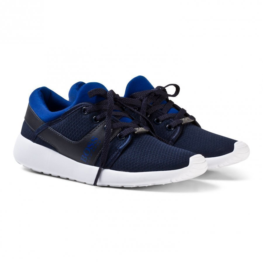 Boss Blue Mesh And Leather Lace Up Trainers Lenkkarit