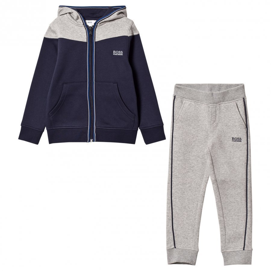 Boss Branded Tracksuit Grey/Navy Verryttelyasu