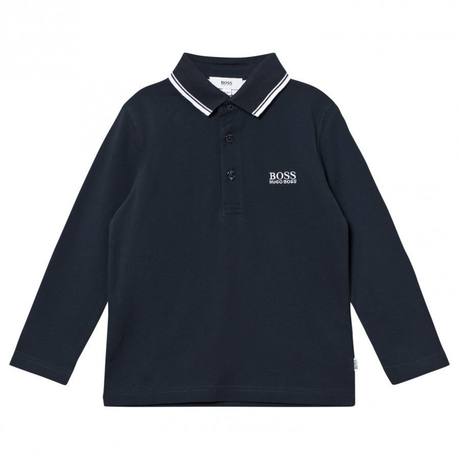 Boss Dark Blue Long Sleeve Branded Polo Pitkähihainen T-Paita