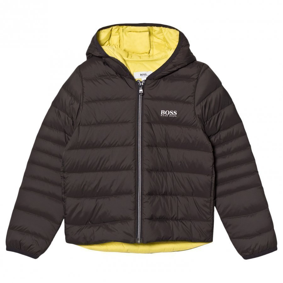 Boss Dark Grey/Lime Hooded Padded Jacket Toppatakki