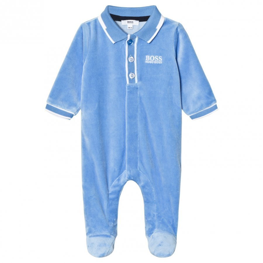 Boss Footed Baby Body Blue Velour Body