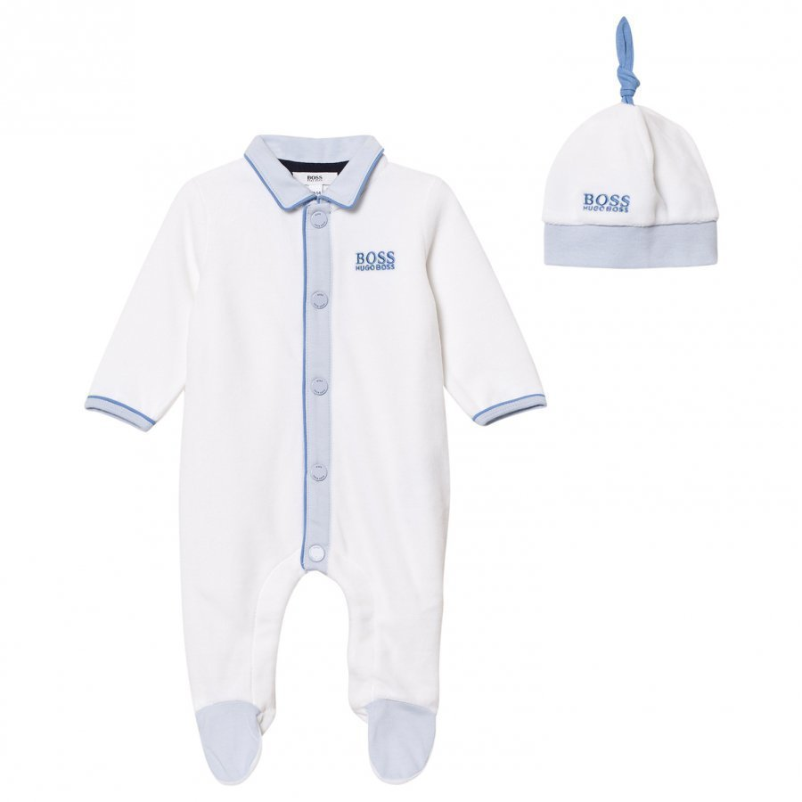 Boss Footed Baby Body White Velour And Hat Giftbox Body