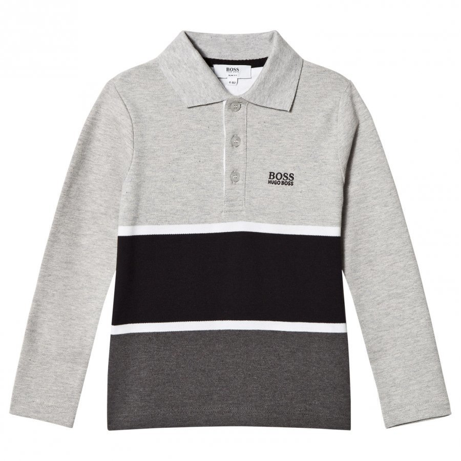 Boss Grey And Black Stripe Long Sleeve Polo Pitkähihainen T-Paita