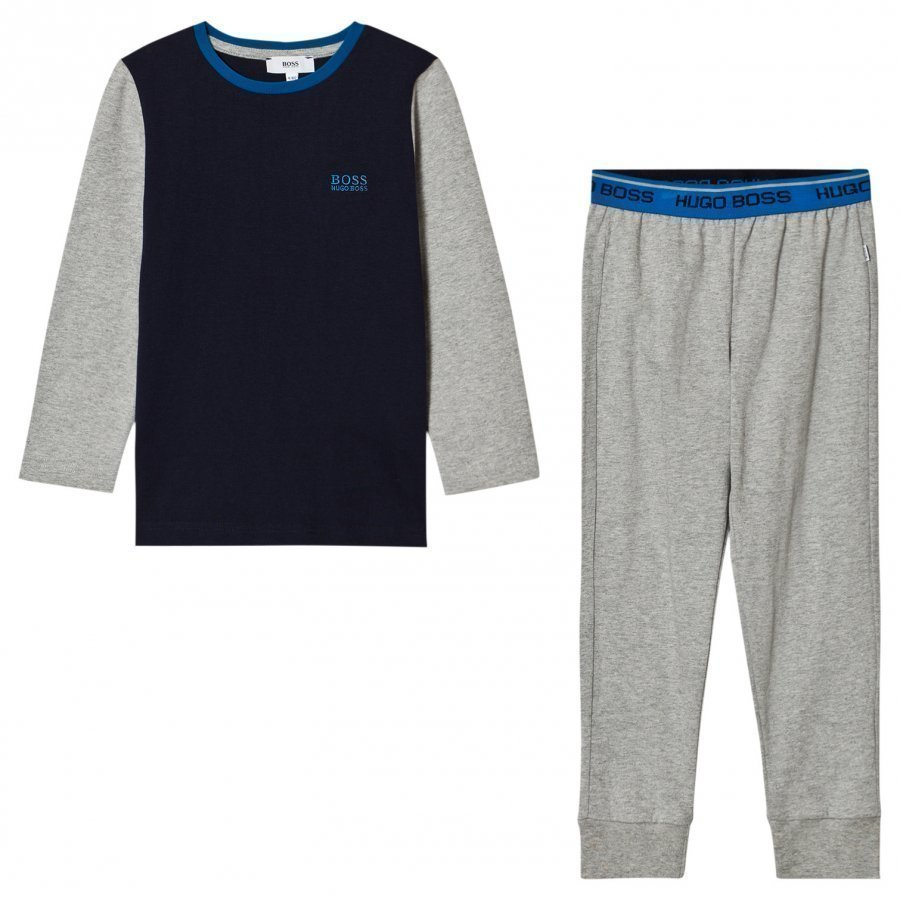 Boss Grey And Blue Branded Pyjamas Yöpuku