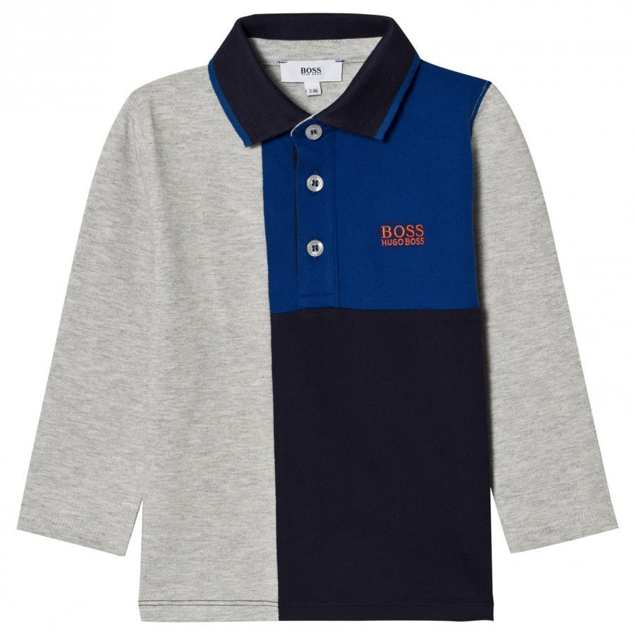 Boss Grey And Blue Paneled Polo Pitkähihainen T-Paita
