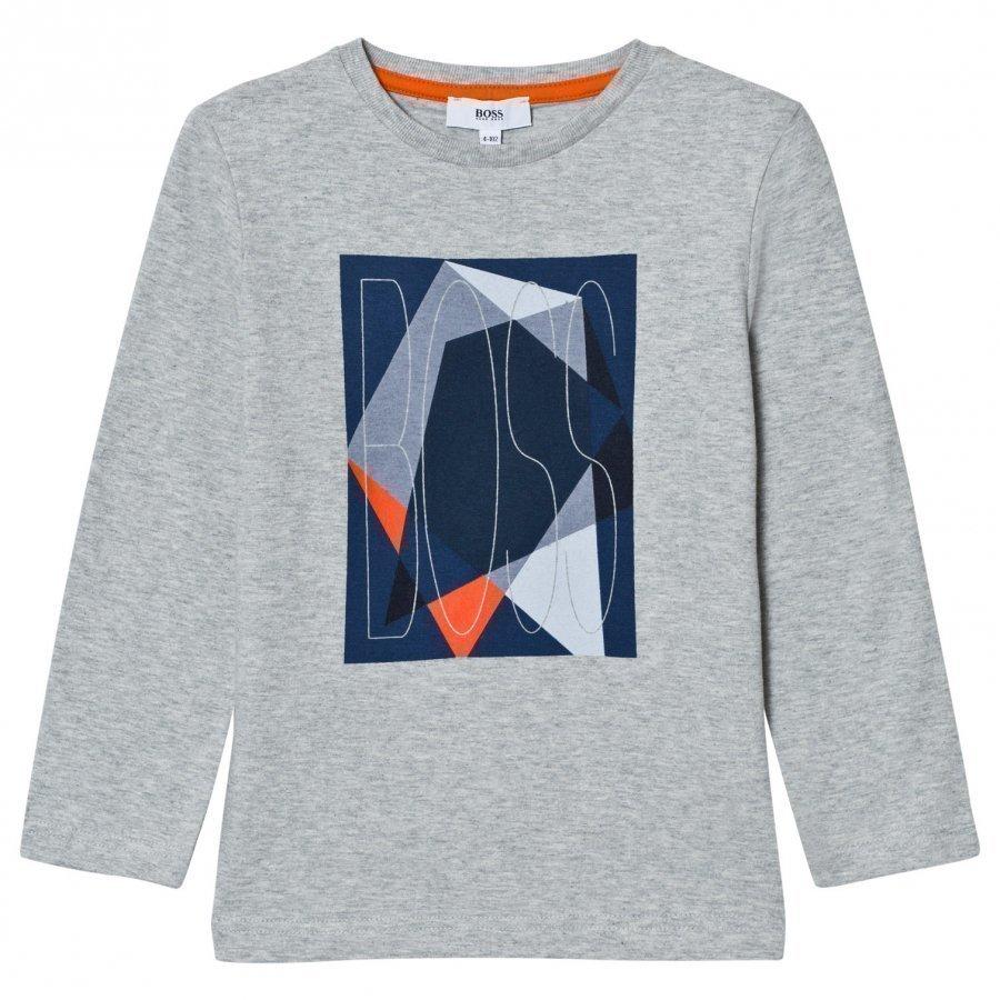 Boss Grey Marl Graphic Branded Tee Pitkähihainen T-Paita