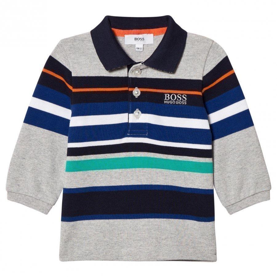Boss Grey Multi Stripe Polo Pitkähihainen T-Paita