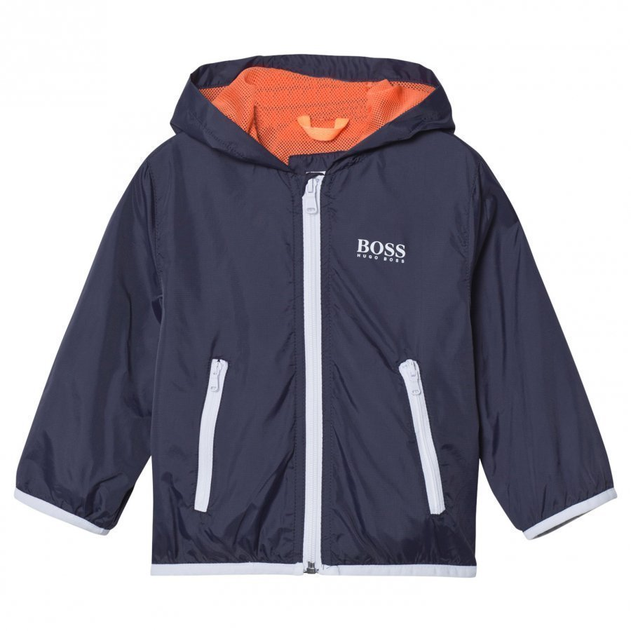 Boss Navy And White Packaway Hooded Jacket Huppari