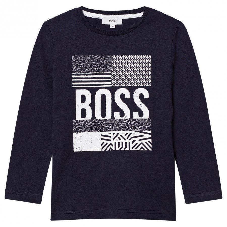 Boss Navy Branded Aztec Print Tee Pitkähihainen T-Paita
