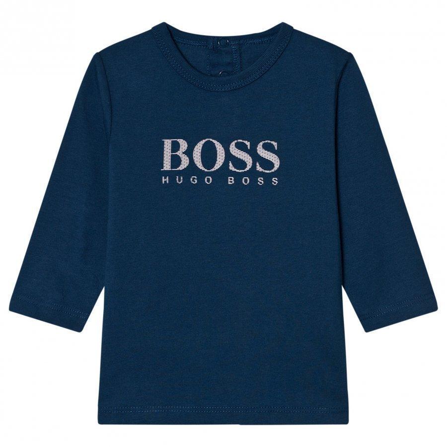 Boss Navy Branded Long Sleeve Tee Pitkähihainen T-Paita